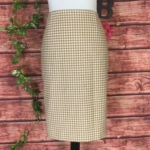Ann Taylor Loft Skirt 10 Khaki White Hounds Tooth